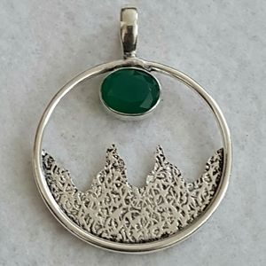 925 Sterling Silver Faceted Onyx Green Peridot